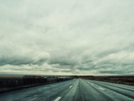 Dense clouds over the road