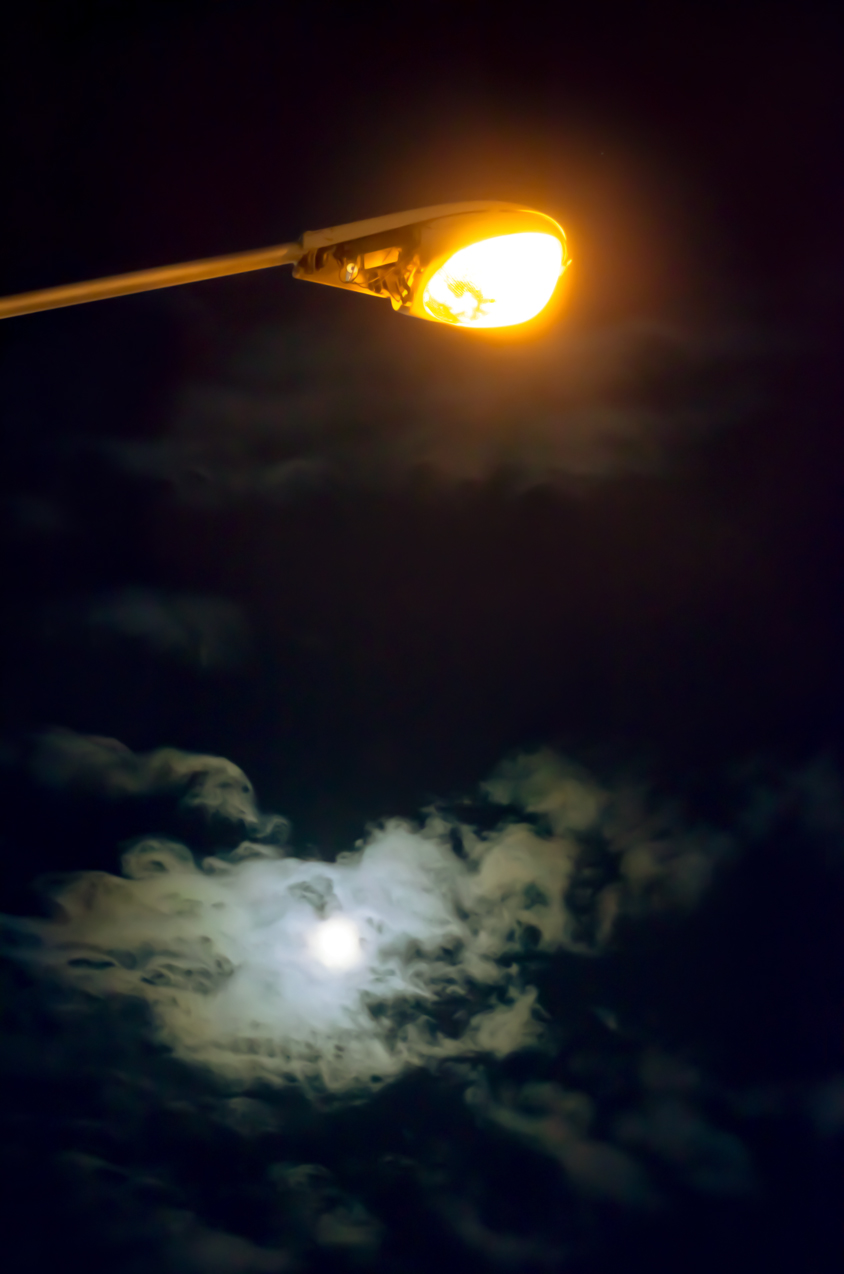 Street light, clouds, moon