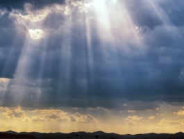 Rays of sunlight through the clouds