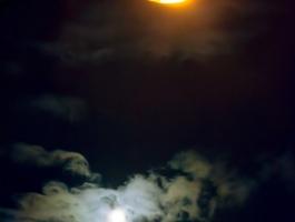 Street light, clouds, moon