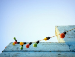 Light chain and colorful wall of a school in Tehran