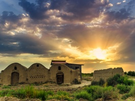 Sunset and beautiful old house