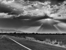 Sunset in grayscale image